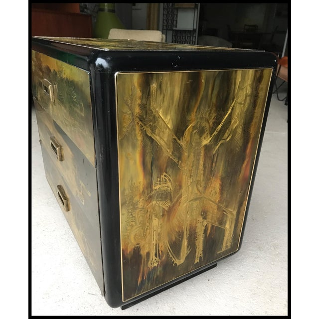 Bernhard Rhone for Mastercraft acid etched brass and black lacquer three drawer dresser. Acid etched brass is just...