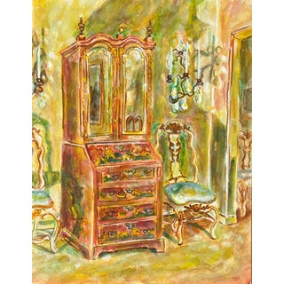 'Chippendale Chinoiserie Secretaire Flanked by Candelabra' For Sale