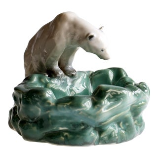 Pottery Polar Bear Ashtray From Ditmar Urbach Czechoslovakia For Sale