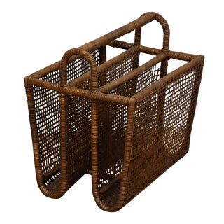 Bamboo & Rattan Magazine Rack For Sale