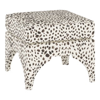 Ottoman, Washed Cheetah Cream Grey For Sale