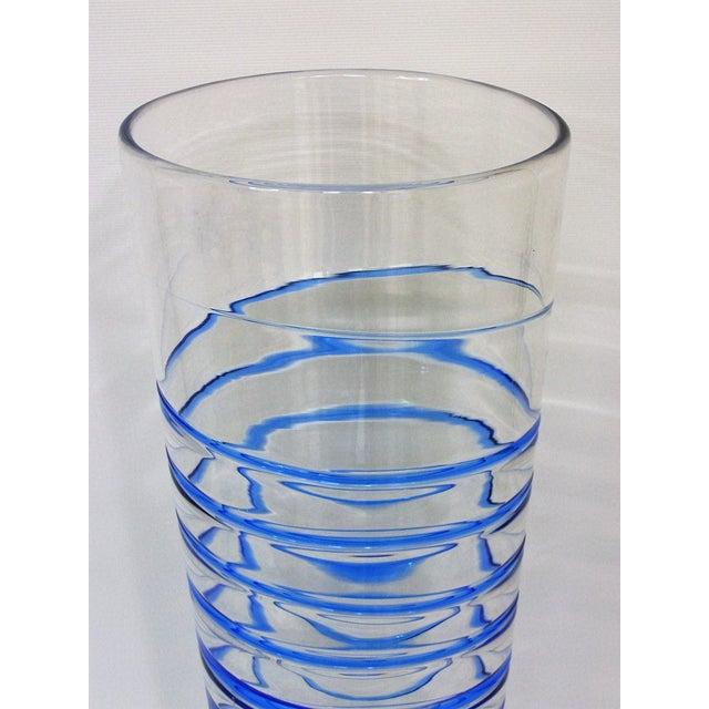 Monumental Transparent & Blue Glass Vintage Blenko Vase Large Mid-Century Modern MCM For Sale - Image 5 of 10