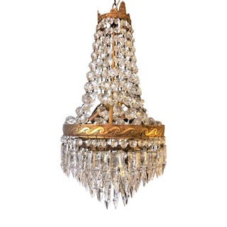 Small Bronze And Crystal Chandelier