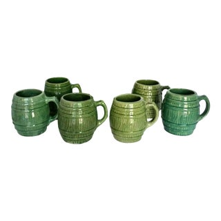 Vintage 1920s McCoy Green Stoneware Pottery Barrel Mugs - Set of 6 For Sale