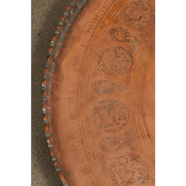 Figurative Large Persian Qajar Copper Tray For Sale - Image 3 of 8