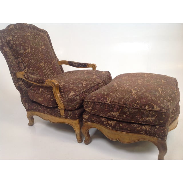 Baker Country French Lounge Chair & Ottoman - Image 5 of 8