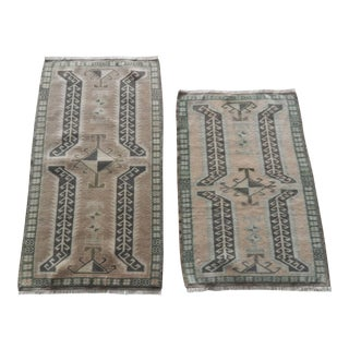 Muted Color Pair of Small Rug Floor Mats,Decorative Traditional Handwoven Oushak Wool Yastik Bath Mats Door Mat Narrow Runners For Sale
