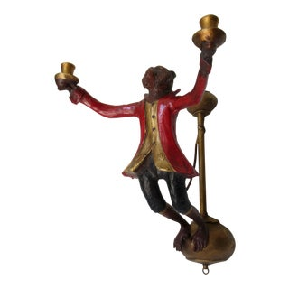 Vintage C.1988 Signed Rare Bill Huebbe Handcrafted Monkey Candle Holder Wall Sconce For Sale