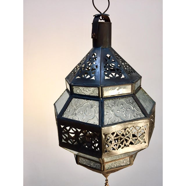 Mid 20th Century Handcrafted Moroccan Metal and Clear Glass Lantern, Octagonal Shape For Sale - Image 5 of 12
