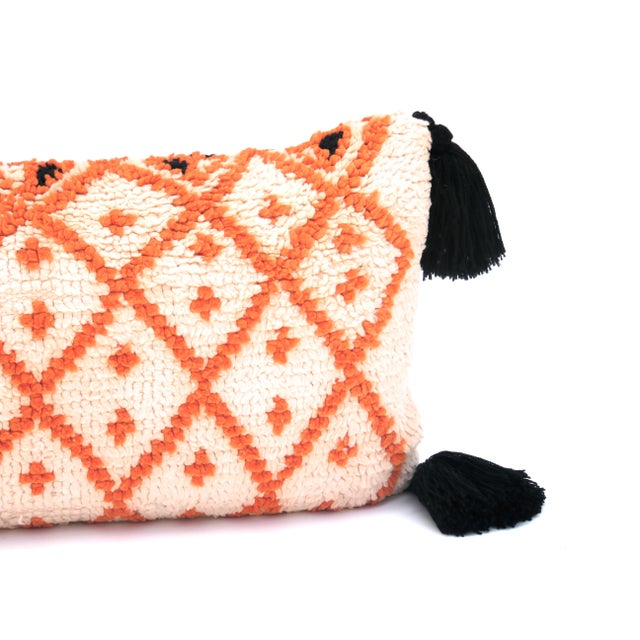 Berber Tribes of Morocco Vintage Morrocan Saffron & Pink Bolster Pillow For Sale - Image 4 of 6