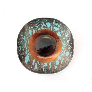 Russian Blue & Bronze Enamel Bowl by H Tishler