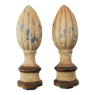1950's Painted Metal Lamp Finials - a Pair For Sale