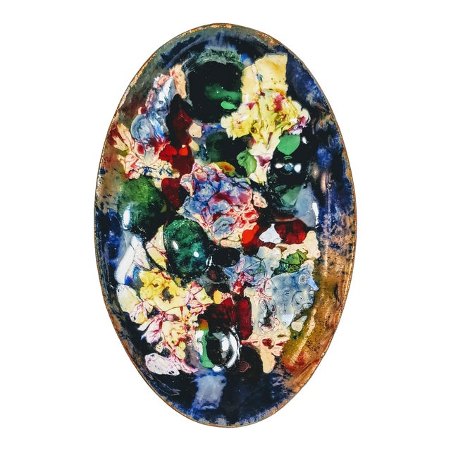 Vintage Mid Century Abstract Art Decorative Enamel Tray Dish For Sale
