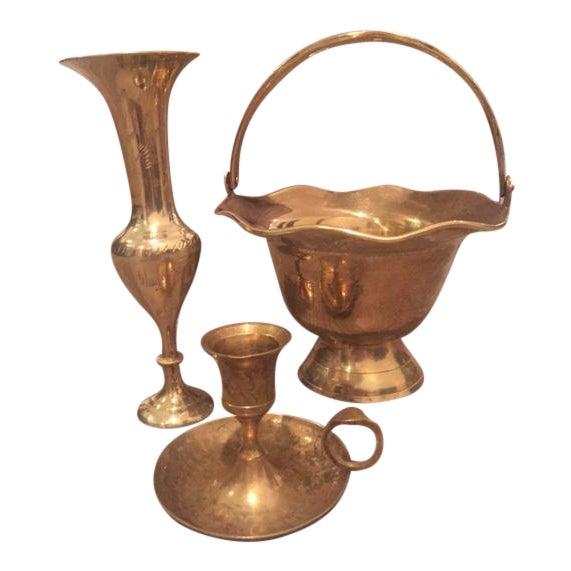 Vintage Brass Vase Bowl & Chamber Stick - Set of 3 - Image 1 of 9