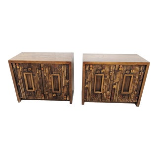 1970s Mid Century Modern Lane Brutalist Night Stands - a Pair For Sale