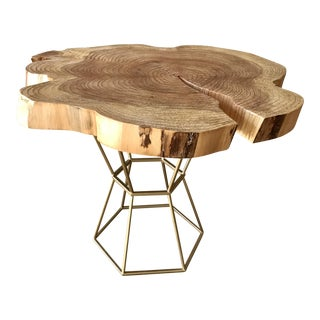 Live Edge Coffee Table on Gilt Pedestal Base For Sale