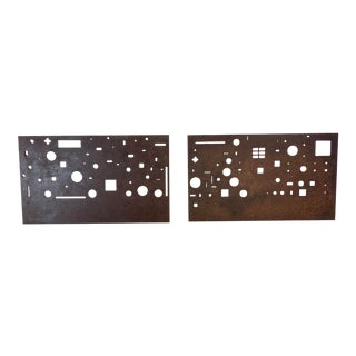 1960s Cut Steel Industrial Wall Hangings - a Pair For Sale
