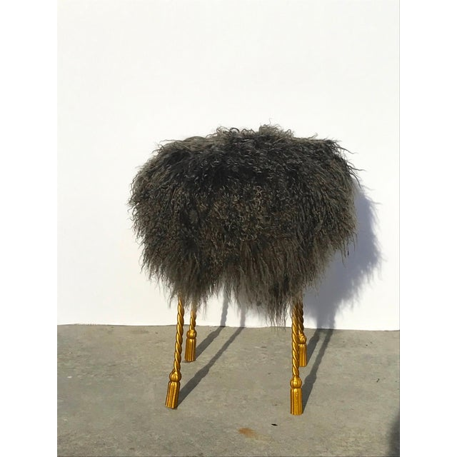 1970s Hollywood Regency Mongolian Lamb & Gilded Metal Vanity Stool, 1970's For Sale - Image 5 of 13