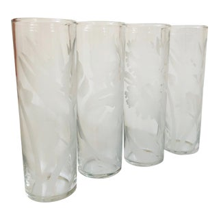 Vintage Frosted Botanic Tall Tumblers - Set of 4 For Sale