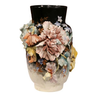 Large 19th Century French Hand-Painted Barbotine Vase With Flowers From Montigny For Sale