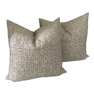 Whisper White Printed Wool Fabric Pillows- a Pair For Sale