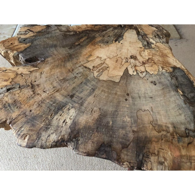 Lucious burl wood live edge coffee table. Bring the outdoors in? Features vintage tapered wooden legs and mesmerizing wood...