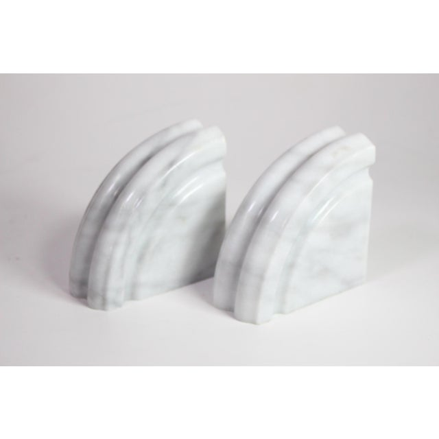 This handsome set of white grey vein marble post modern art deco bookends are in fantastic condition for their age,...