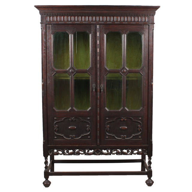 1920s Art Noveau-Jacobean Style Bookcase For Sale