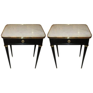 Pair of Ebonized Jansen Marble Top End Tables In The Louis XVI Manner For Sale