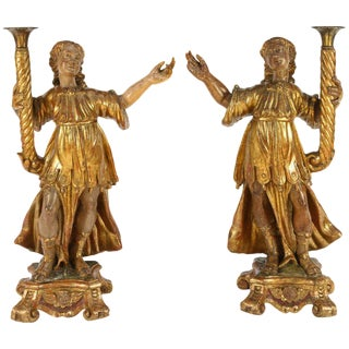 18th C. Italian Giltwood Saints Gilded Candle Figures - a Pair For Sale