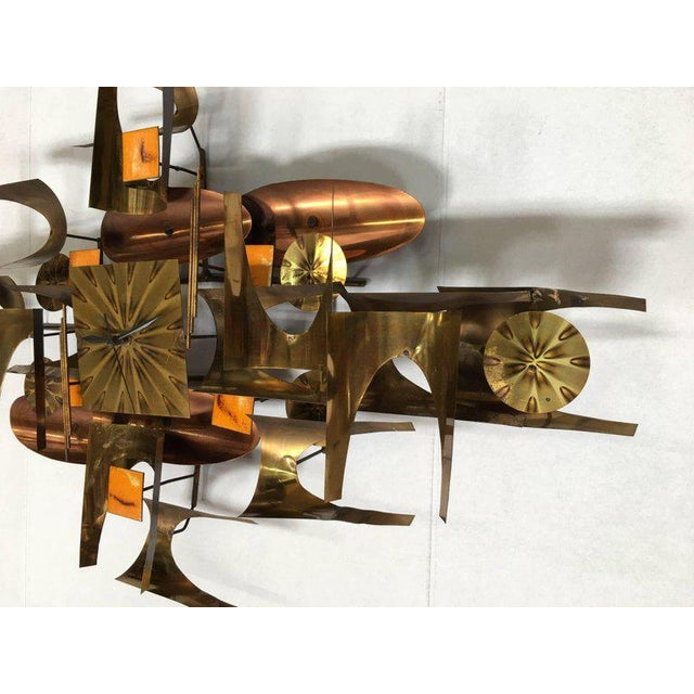 William Vose for Curtis Jere Brass and Copper Brutalist Wall Sculpture Clock For Sale - Image 9 of 10