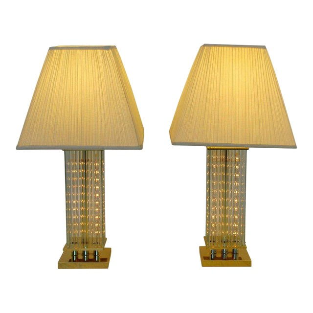 Mid-Century Modern Sciolari Brass & Glass Rod Table Lamps, 1970s Italian - a Pair For Sale