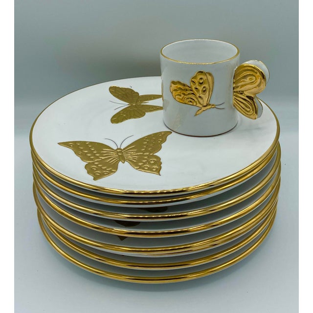 Vintage Hollywood Regency Carole Stupell Golden Butterfly Luncheon Plate and Cups - Set of 8 For Sale - Image 11 of 12
