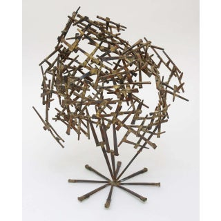 Vintage Brutalist Abstract Nail Tabletop Sculpture Preview