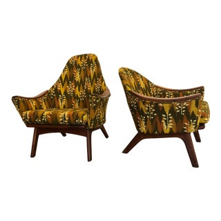 Adrian Pearsall His and Hers Lounge Chairs With Walnut Arms and Legs For Sale
