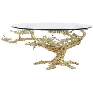 Vintage 22k Gilted Iron Tree Coffee Table With Glass For Sale
