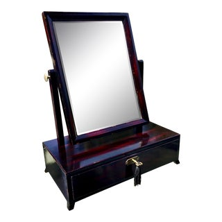 Asian Modern Rosewood Lacquer Dressing Table Mirror For Sale