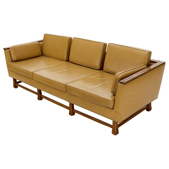 Mid-Century Modern Tan Leather Oak Frame Sofa by Ranch Oak For Sale - Image 13 of 13
