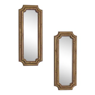 1980s Faux Bamboo Accent Mirrors - a Pair For Sale