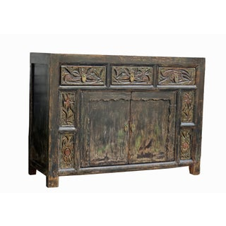 Chinese Carved 3-Drawer Pine Cabinet Preview