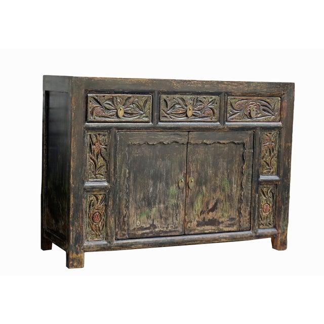Chinese Carved 3 Drawer Pine Cabinet Chairish