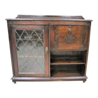 Antique English Oak Drop Front Secretary With Leaded Glass Bookcase Cabinet For Sale