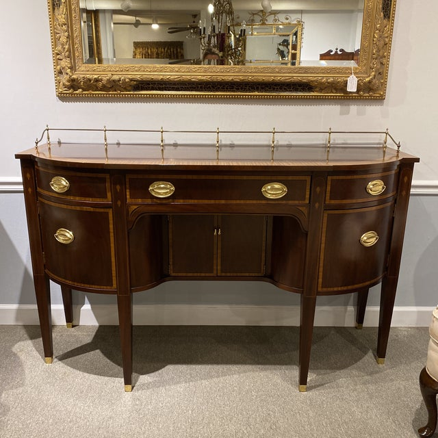 1940s Mahogany Sideboard with Brass Gallery For Sale - Image 13 of 13