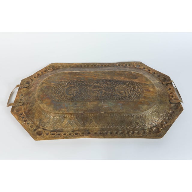 Gold Indo Persian Brass Charger Serving Tray For Sale - Image 8 of 9