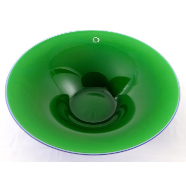 V. Nason & C. , Italy Blue and Green Blown Murano Glass Bowl Offered for sale is a green and blue Murano glass bowl or...
