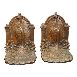 Proud Peacock Weidlich Brothers Bookends Circa 1925 - a Pair For Sale