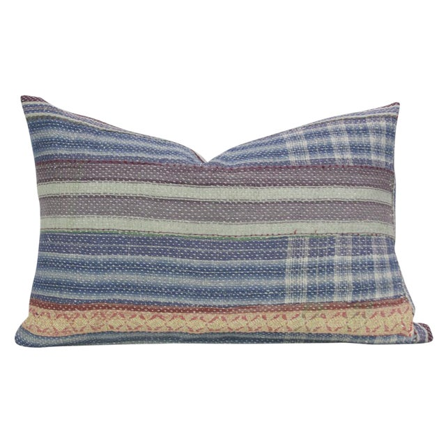 Navy Plaid Bengal Kantha Lumbar Pillow For Sale