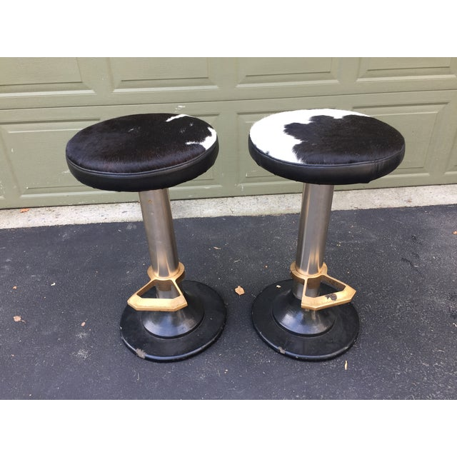 Cowhide Deco Style Bar Stools - a Pair - Image 11 of 11