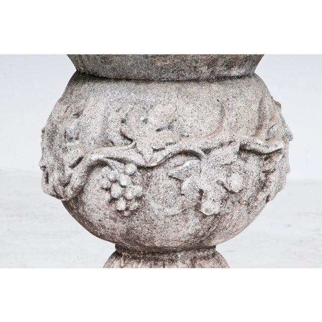 Rococo Early 20th Century Vintage Cast Stone Grape Vine Motif Garden Urn For Sale - Image 3 of 3
