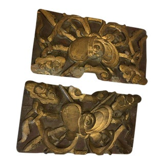 Art Deco Wood & Gold Carvings - a Pair
